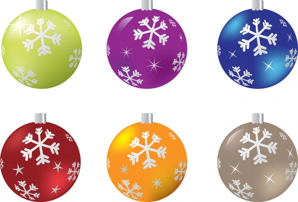 bauble ball icons colorful sparkling snowflakes decor