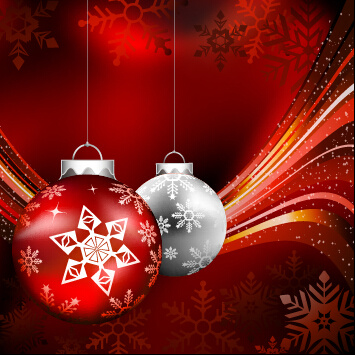 christmas ball with abstract red background