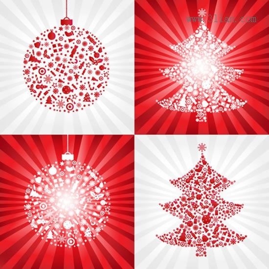 christmas background templates vivid bauble balls fir trees