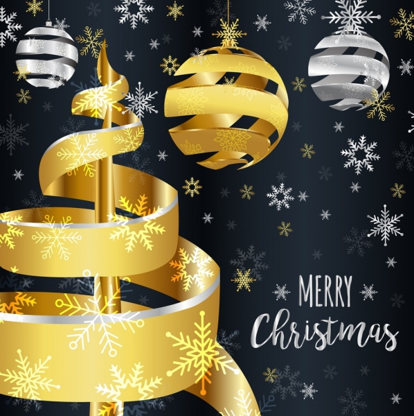christmas banner 3d shiny golden silver twist decoration