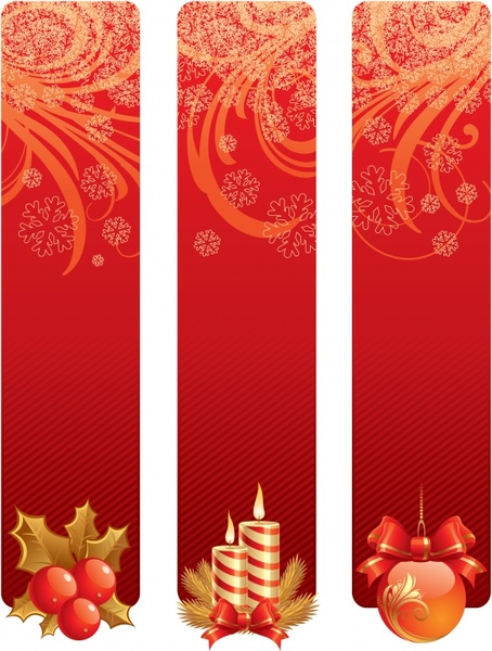 christmas banner templates elegant red decor vertical design