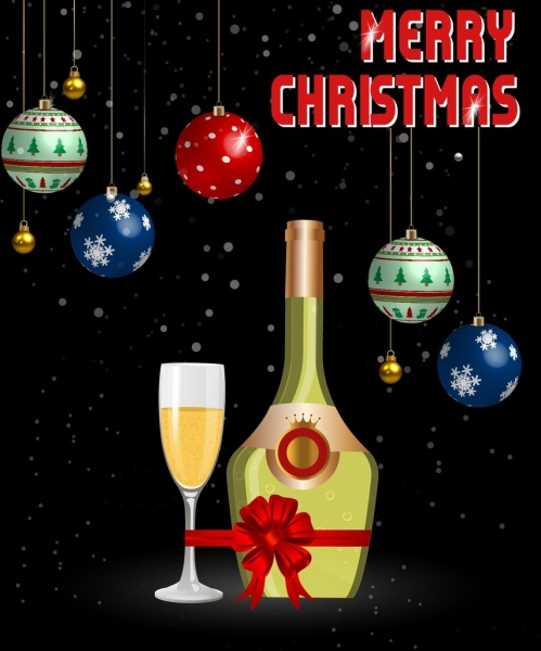 christmas banner champagne bauble icons colorful design