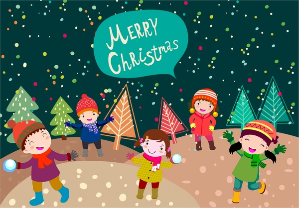 christmas banner design with kids playing outdoor