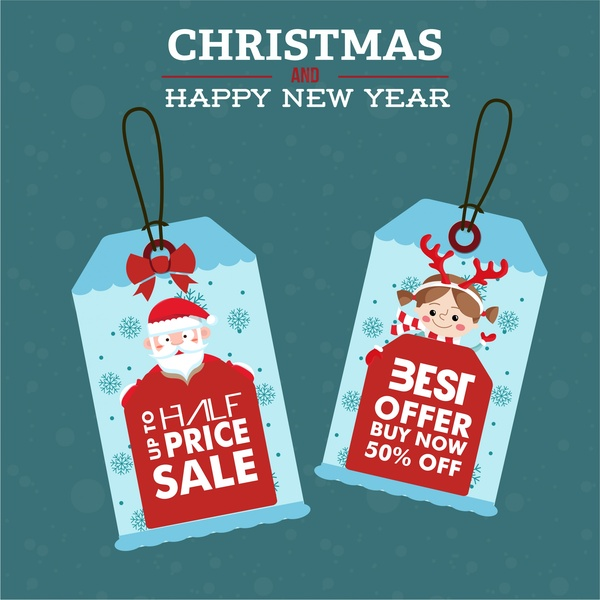 christmas banner design with sales tags