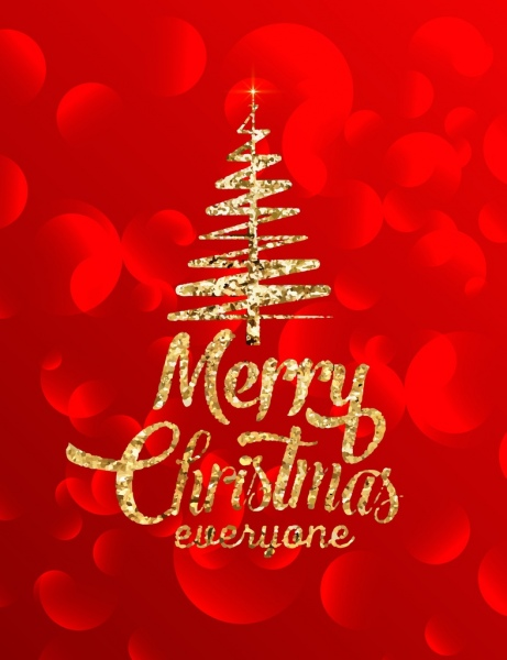 christmas banner glittering golden decor bokeh red backdrop
