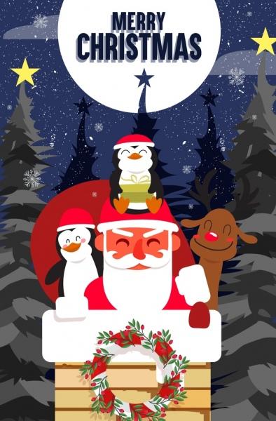christmas banner santa claus cute animal icons decor