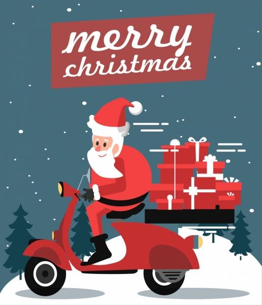 christmas banner santa claus motorbik gift boxes icons