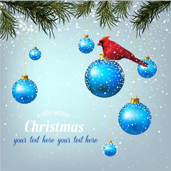 christmas banner snowy background blue baubles bird icon