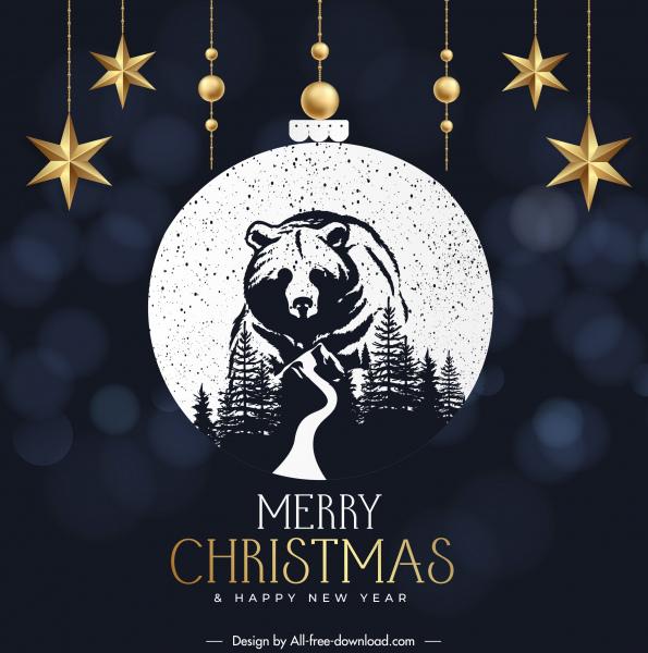 christmas banner template wild bear sketch baubles decor