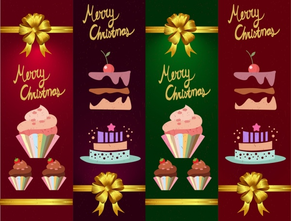 christmas banner templates cakes bow icons decoration
