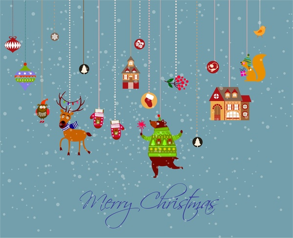 christmas banner with hanging style of symbols elements
