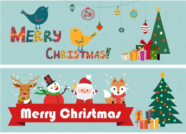 Christmas Banners.Christmas Banners Classical Design And Symbol Elements Free