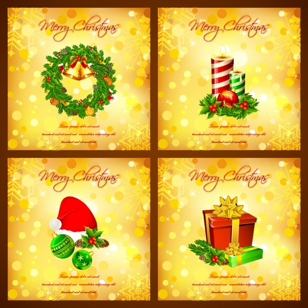 christmas bells christmas hats ribbon vector