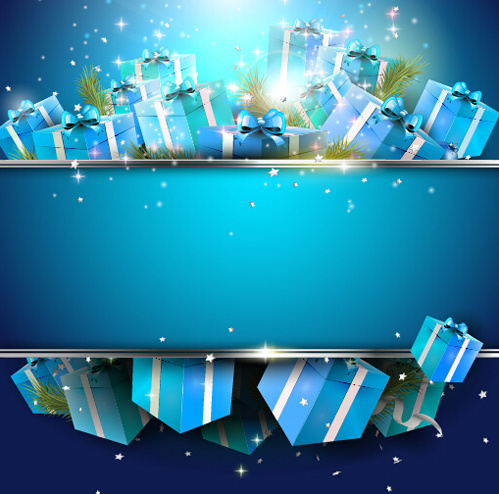 christmas blue gift box background vector