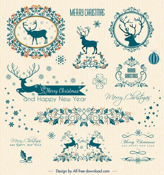 christmas card design elements reindeer snowflake flowers decor