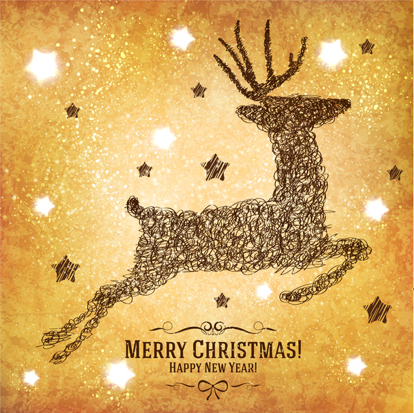 christmas card design with abstract reindeer