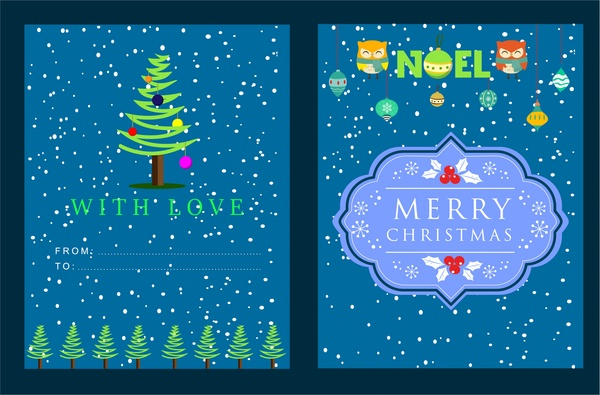 christmas card snow and emblems in blue background