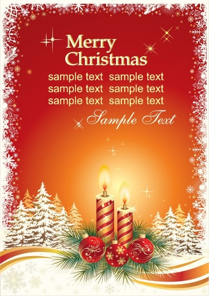Christmas Card Vector Template Free Vector 3.85MB