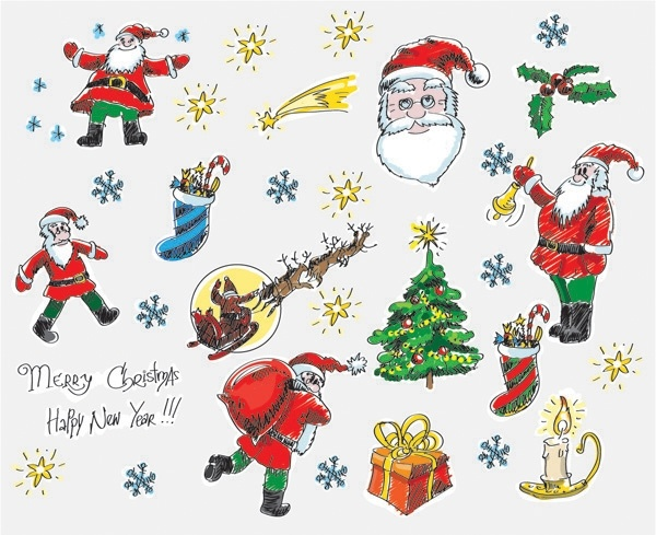 christmas cartoon style handdrawn elements of vector
