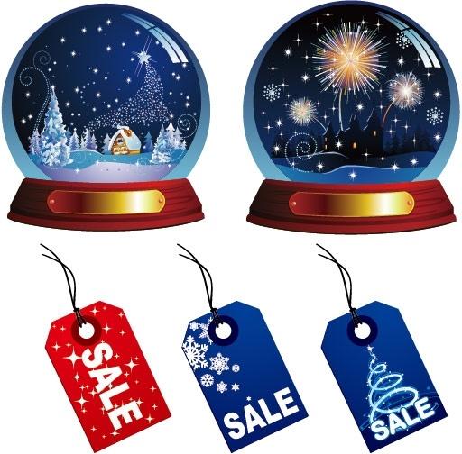 christmas crystal ball and sales tag vector