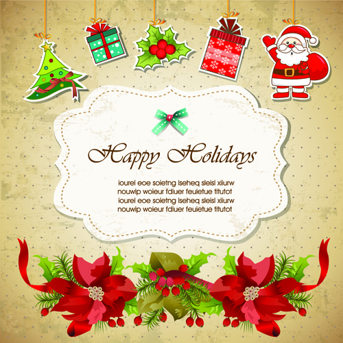 Christmas Greeting Cards Design.Christmas Cute Greeting Cards Design Vector Free Vector In