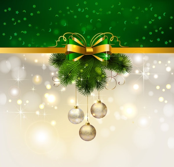 christmas decoration background 04 vector - Green Christmas Decorations