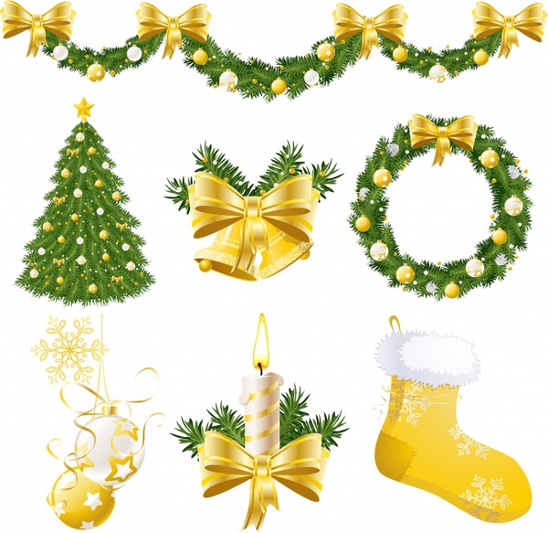 christmas design elements elegant wreath socks baubles sketch