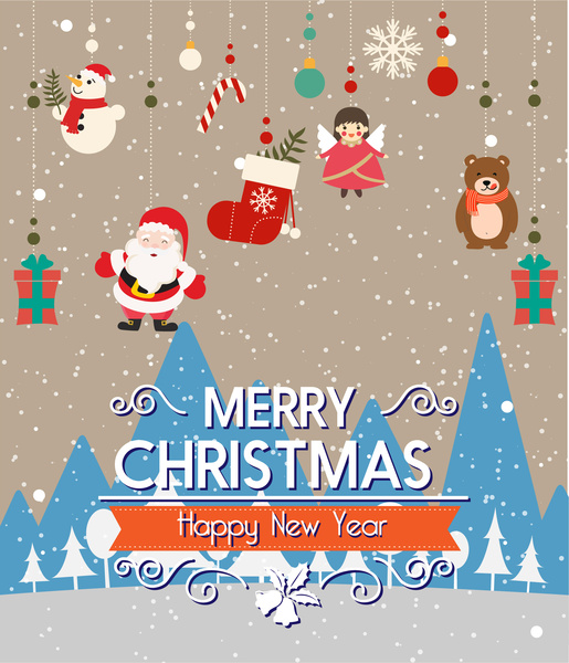 christmas decorations with hanging ornamentals and snow background