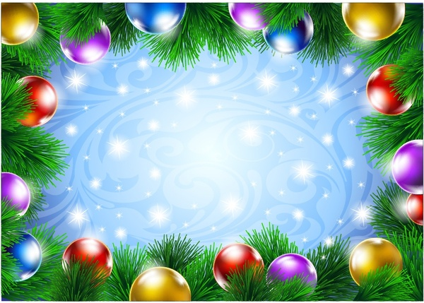 Christmas Page Border.Christmas Decorative Border Of Pine Branches Vector Free