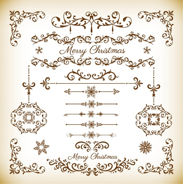 Christmas Decorative Floral Elements Vector Set Free Vector In