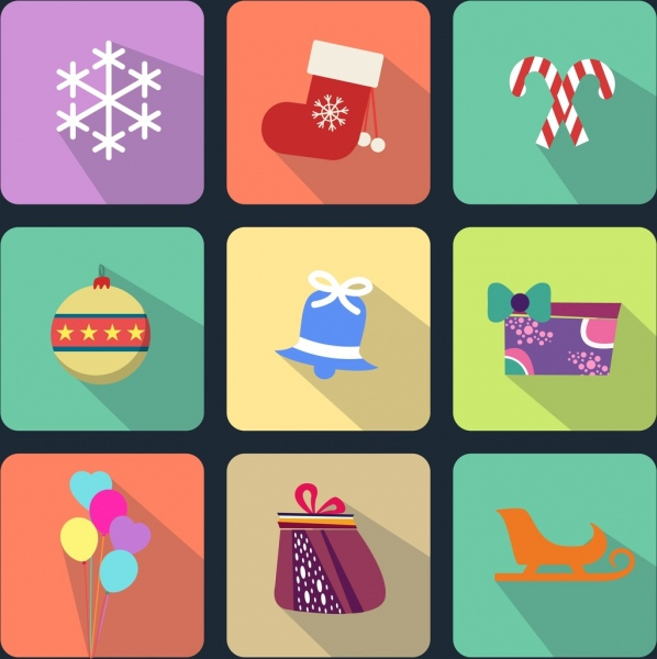christmas design elements various icons flat isolation