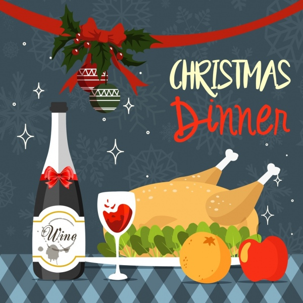 christmas dinner background roasted chicken wine baubles decoration