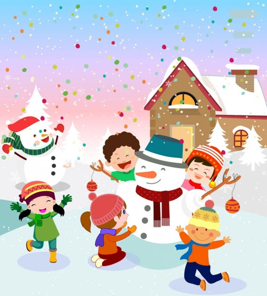 christmas drawing joyful kids snowman icons colored cartoon