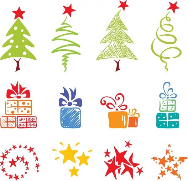 christmas design elements flat colored handdrawn symbols