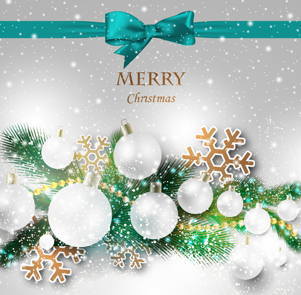 Christmas Gift Card With Ribbon And Crystal Decoration Free Vector In Adobe Illustrator Ai Ai Format Encapsulated Postscript Eps Eps Format Format For Free Download 6 56mb