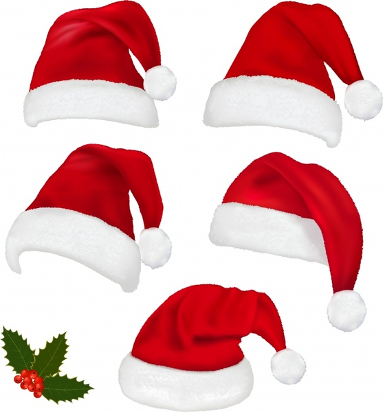 christmas hats christmas red berries vector