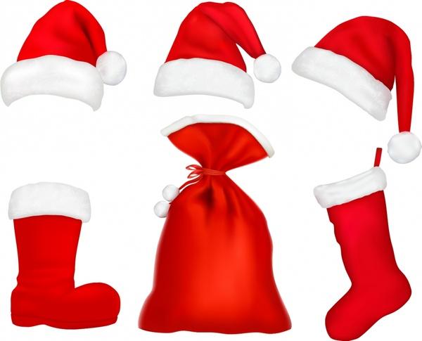 christmas hats plush boots bags christmas vector