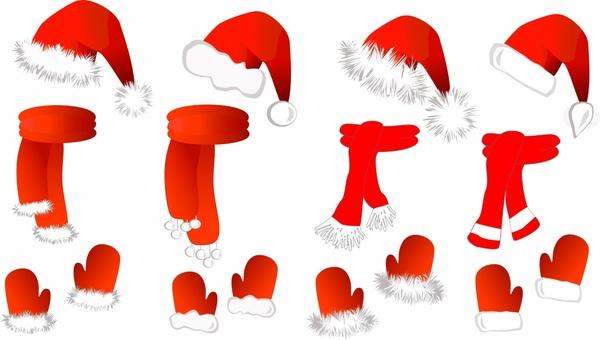 christmas design elements santa hat gloves scarf icons