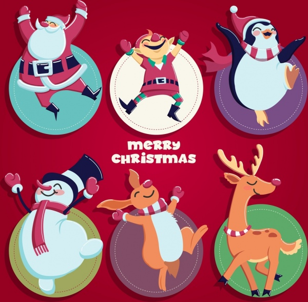 christmas labels collection cartoon characters icons decor