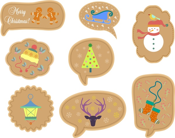 christmas labels collection various symbols shapes in brown