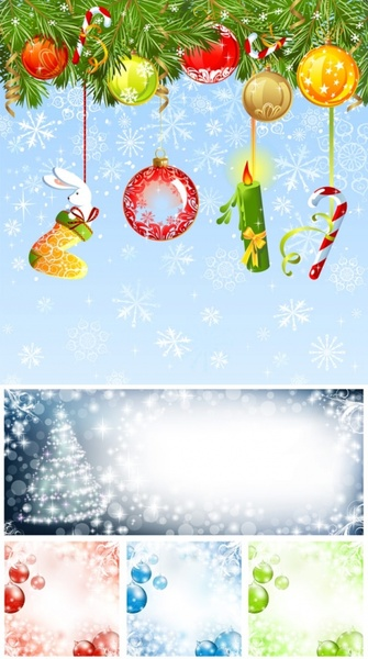 christmas ornaments and background vector