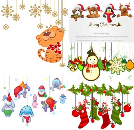 Christmas Background Templates Colorful Cute Symbols Decor Free