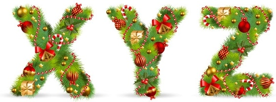 christmas ornaments composed of letters 05 vector