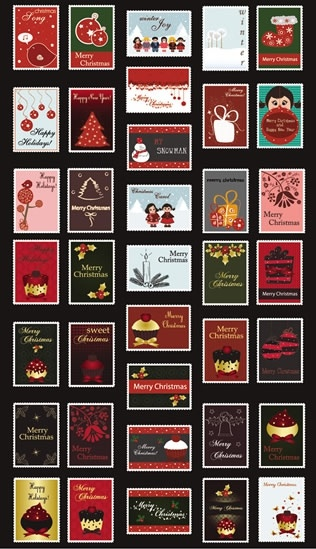christmas stamps templates collection colorful classical decor
