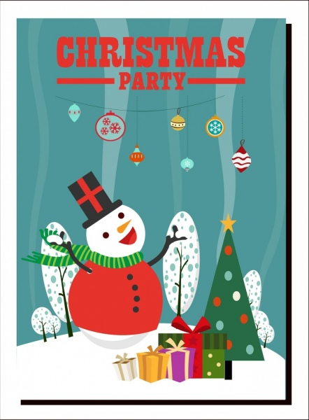 Christmas Party Banner Snowman Giftboxes Fir Tree Icons Free Vector