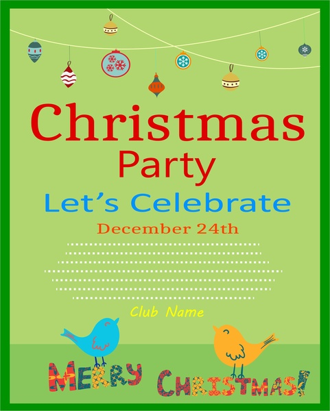 christmas party flyer symbol elements on green background