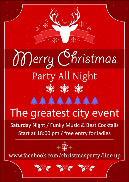 Christmas Leaflet Background.Christmas Party Leaflet On Red Background Free Vector In