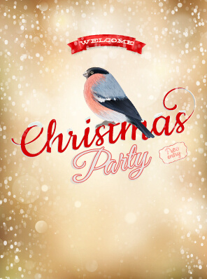 christmas party poster and bird vector