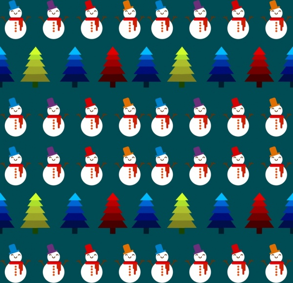 christmas pattern background repeating colored symbols elements decoration