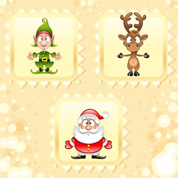 christmas stamp templates cute claus clown reindeer icons